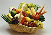 Fruit and vegetables in a willow basket