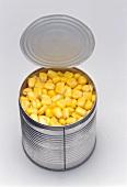 Sweetcorn in an opened tin