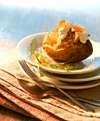 Baked potato with crème fraiche and caviare