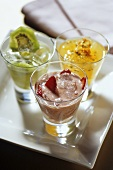 Drinks with strawberries, maracuya & kiwi fruits