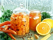 Bottled carrots and marmalade