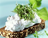 Cottage cheese and cress on wholemeal bread