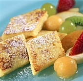 Semolina slices with fruit salad