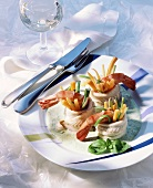 Sole rolls with shrimps on herb sauce