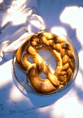 Giant pretzel made from yeast dough