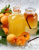 Home-made apricot liqueur with ingredients
