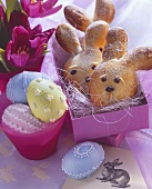 Baked Easter bunny and filled  eggs (yeast dough)