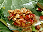 Poultry kebabs with rhubarb chutney