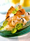 Jumbo prawns with basil butter