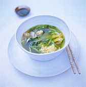 Wan tan soup with pak choi