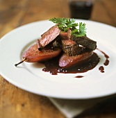 Beef fillet on red wine pear