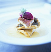 Red mullet and pike-perch tower with beetroot mousse