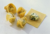 Hand-made tortellini with herb quark filling