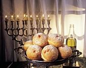 Sufganiot (Jewish doughnuts) for Hanukkah, Purim