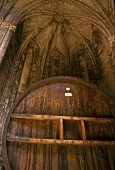 Wine barrels maturing in church, Chateau Valmagne, Roussillon