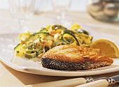Salmon steaks with vegetable noodles