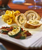 Turkey roulades with mushroom stuffing, courgettes & noodles