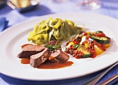 Saddle of hare with ratatouille & green ribbon noodles