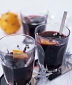 Three glasses of red wine punch (Glühwein)