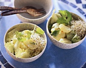 Potato salad with sprouts and coriander