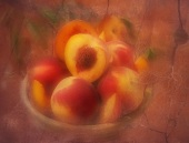 Stillleben mit Pfirsichen im Stil eines alten Gemäldes