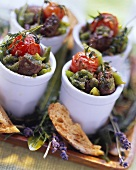Provencal meat and vegetable stew, served in little pots