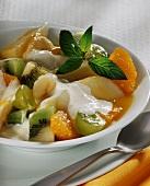 Fruit salad with vanilla yoghurt sauce