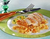 Roast guinea fowl breast on sauerkraut