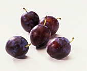 Five damsons with stalk