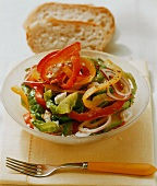 Colourful pepper salad with sheep's cheese