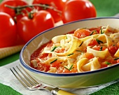 Herb pasta with tomato sauce