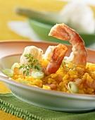 Risotto ai gamberi (saffron risotto with jumbo prawns)
