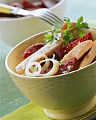 Meat salad with beetroot, dressed with oil & vinegar