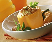 Stuffed pepper with rice and creamed tomato sauce