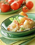 Rice with tomato & ginger with fried jumbo shrimps