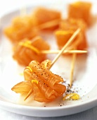 Kebab with peppered smoked salmon (party snack)