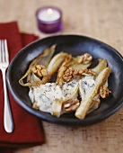 Roast chicory with gorgonzola and walnut sauce