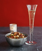 Party salad with dates & almonds & a glass of Sekt