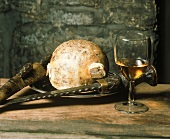 Glass of whisky & haggis (Scottish dish in sheep's stomach)
