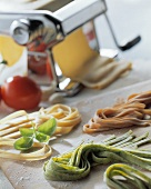 Still life with home-made noodles and pasta machine