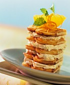 Waffle tower with orange mousse filling