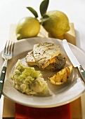 Grilled swordfish with potato and leek puree