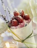 Raspberry dessert with lavender