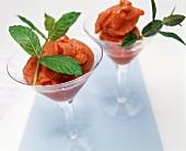 Strawberry sorbet, garnished with lemon balm