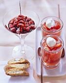 Wild red wine strawberries & strawberries in Campari jelly