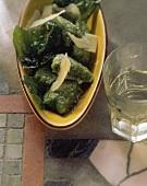 Gnocchi agli spinaci (spinach gnocchi with Parmesan, Italy)