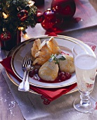 Honey mousse and puff pastry fir trees with berry sauce