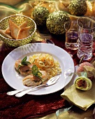 Monkfish wrapped in salmon, with ribbon noodles