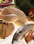 Still life: mackerel, sea bream, smoked pork rib & boiling fowl