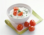 Herb quark with cocktail tomatoes